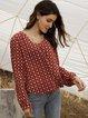 Red Printed Long Sleeve Boho Crew Neck Shirts & Tops