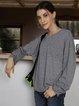 Gray Paneled Crew Neck Long Sleeve Cotton-Blend Shirts & Tops