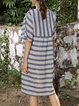 Blue Short Sleeve Printed Dresses