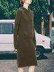 Hooded long sleeve pocket mid-length ladies knitted dress