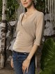 Apricot Long Sleeve Solid Paneled Cotton-Blend Shirts & Tops