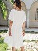 White A-Line Short Sleeve Dresses