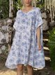 Blue Swing Paneled Short Sleeve Dresses