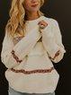 Apricot Shift Long Sleeve Cotton-Blend Tribal Sweater