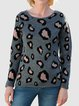 Leopard Shift Crew Neck Casual Cotton-Blend Sweater