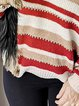 Red Stripes Shift Casual Cotton-Blend Sweater