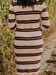 All-match casual striped printed cotton blend sweater
