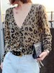 Leopard print long sleeve jacket casual sweater
