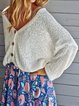White V Neck Shift Long Sleeve Cotton-Blend Sweater