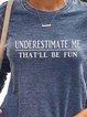 Blue Crew Neck Letters Printed  Long Sleeve Sweatshirt