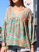 Multicolor ethnic print casual shirt and V-neck puff sleeve top
