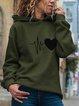 Heart Printed Casual Long Sleeve Hoodie