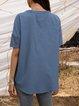Blue Short Sleeve Casual V Neck Shirts & Tops