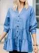 Blue Plain Cotton-Blend V Neck Casual Shirts & Tops