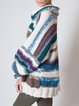 Oversized colorblock sweater dress soft pullover with long sleeves and stripes
