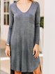 Gray Casual Long Sleeve Shift Dresses