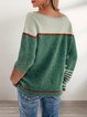 Green Casual Striped Acrylic Crew Neck Sweater