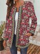 Vintage Print Loose Round Neck Casual Jacket Cardigan