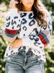 Leopard Long Sleeve Casual Cotton-Blend Shift Sweater