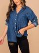 Blue Plain Long Sleeve Shirts & Tops