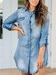 Blue Shirt Collar Casual Shirts & Tops