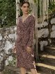 Pink V Neck Long Sleeve Cotton-Blend Sheath Dresses