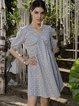 Gray Geometric Short Sleeve Boho Dresses
