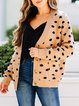 Leopard Long Sleeve Casual Cotton-Blend Shift Outerwear