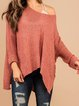 Pink Casual Cotton-Blend Plain Scoop Neckline Sweater