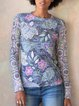 Blue Printed Round Neck Cotton-Blend Long Sleeve Shirts & Tops