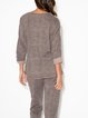 Knitted sequin panel top suit