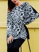 Gray leopard stitching loose sweater