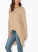 Ribbed knit high-low asymmetric sweater