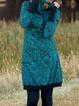 Aqua Blue Floral Printed Turtleneck Sweatshirt