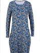 Leopard Crew Neck Long Sleeve Shift Cotton-Blend Dresses