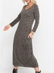 Leopard Long Sleeve Shift Leopard Dresses