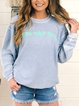 Letter Printed Round Neck Casual Corded Sweatshirt