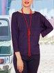 Loose Polka Dots Casual Long Sleeve Round Neck T-shirt
