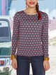 Round Neck Printted Long-sleeve Casual T-shirt