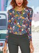Blue Printed Casual V-neck Long-sleeved T-shirt
