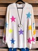 Stars Print Round Neck Short Sleeve Casual Sweater