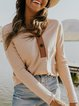 Apricot Shift Casual Cotton-Blend V Neck Shirts & Tops