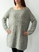 Dove gray hand-knitted long sweater