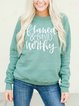 Pure color brushed printed warm sweater