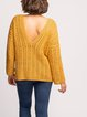 Thick stitch large V-neck casual long-sleeved sweater