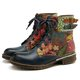 Blue Daily Printed Pu Winter Boots