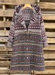 Ethnic Print Long Sleeve Vintage Hooded Coat