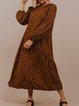 Leopard Cotton-Blend Crew Neck Long Sleeve Leopard Dresses