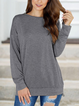 Round Neck Solid Color Long-sleeve Casual T-shirt