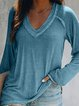Casual Solid Color V-neck T-shirt